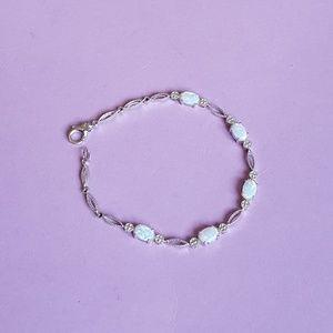 Silver Toned Faux Moonstone Bracelet